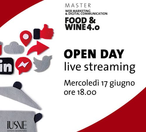 Open Day in live streaming del Master Food & Wine 4.0 IUSVE